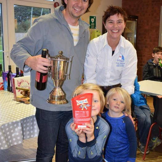 James, Barnaby and Blaise Kemp with Ripon SC's Fiona Spence during the Ripon Mirror Open