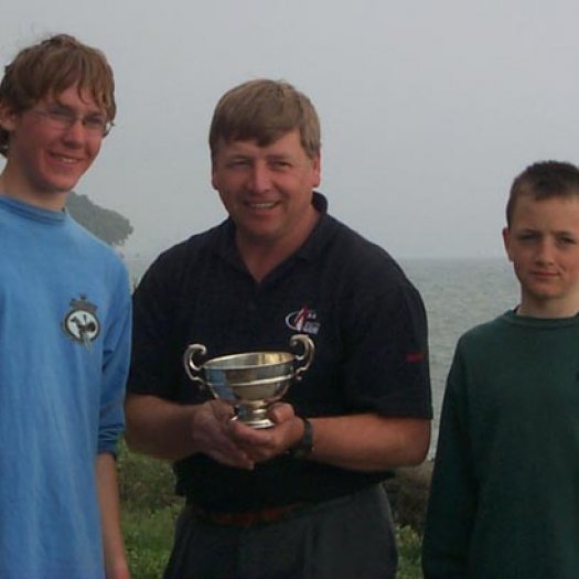 Alex Kaiser and Jack Vaughan from Royal Cork YC, IRL receiving the Pioneer Cup from Peter Aitken