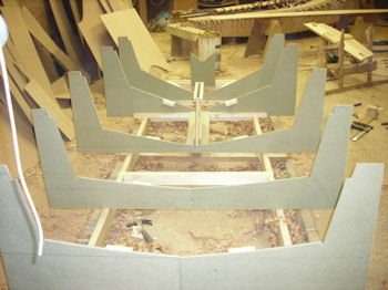 A wooden frame for building a Mirror dinghy in