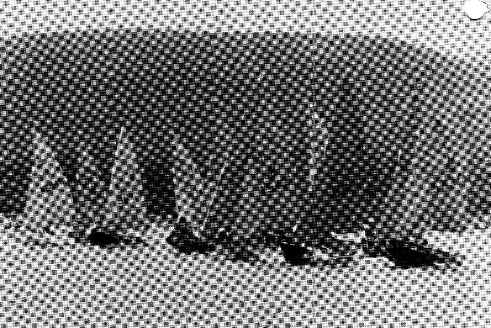 Mirror dinghies starting a race sailing towards the camera