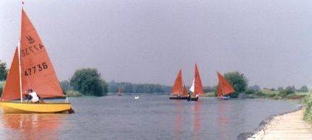 Mirror dinghies racing on a river in a light wind