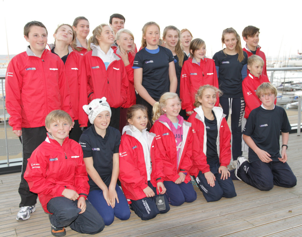 RYA National Junior Mirror squad in their red squad jackets