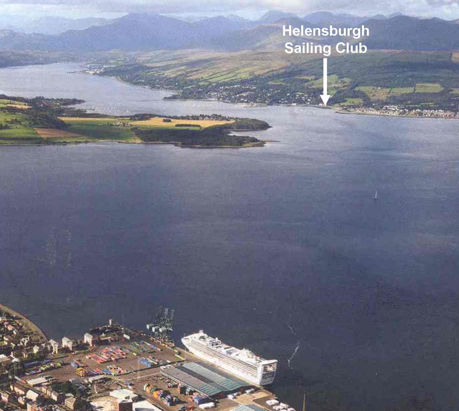 Arial view of the estuary around Helensburgh