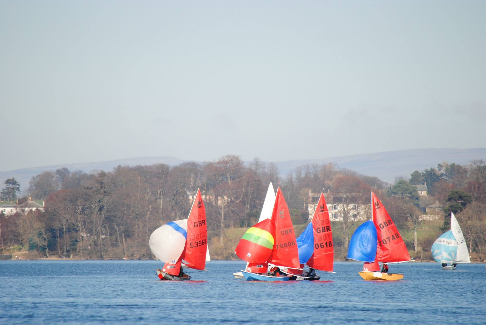 Mirror dinghies racing with spinnakers on a lake