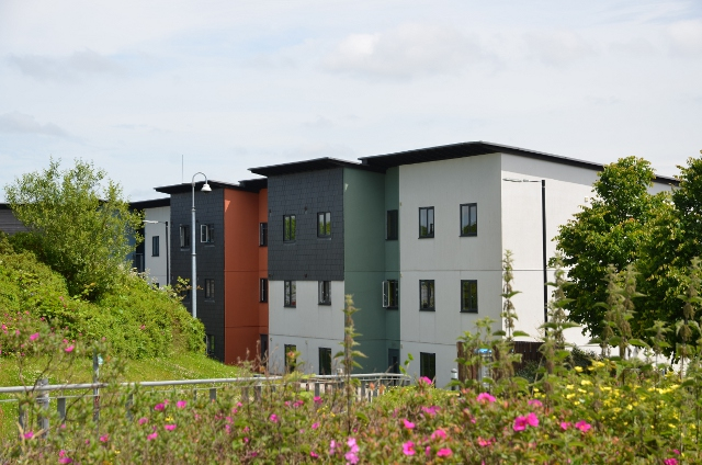 View of the outside of student accommodation at Penryn Campus