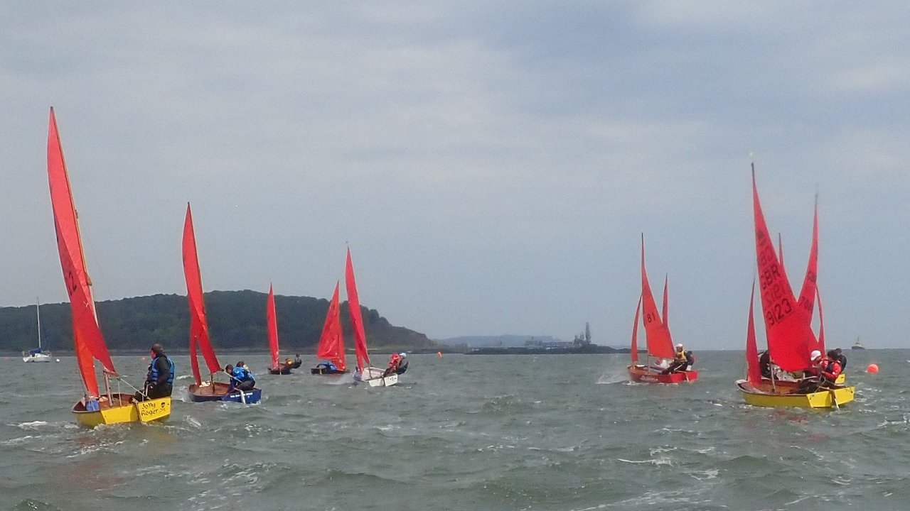 A fleet of Mirror racing to windward away from the camera