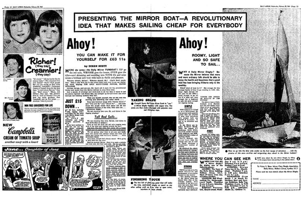 Two pages from the Daily Mirror newspaper, thought to be in 1963 promoting the new dinghy
