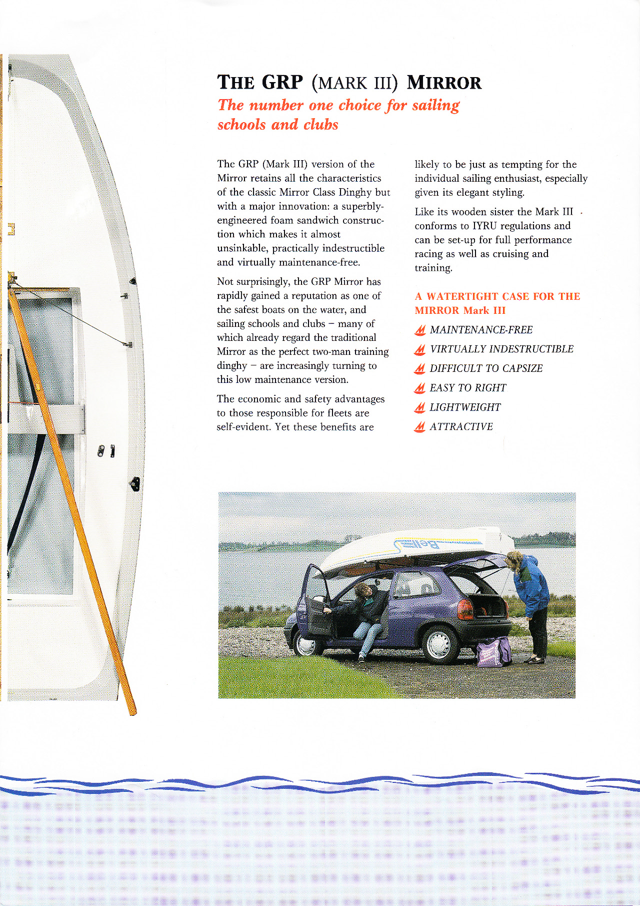 A page from a Mirror publicity brochue featuring a GRP Mirror dinghy