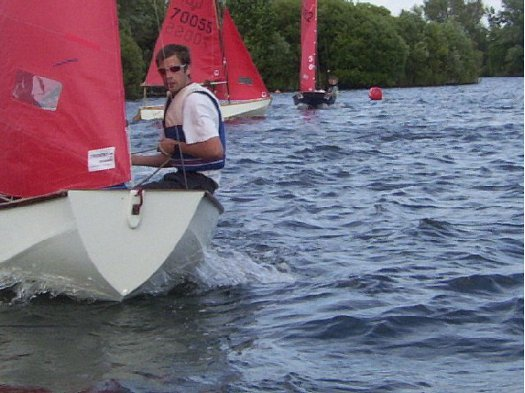 Mirror dinghy number 14 sailing at Wraysbury Lake SC Mirror Open in 2003