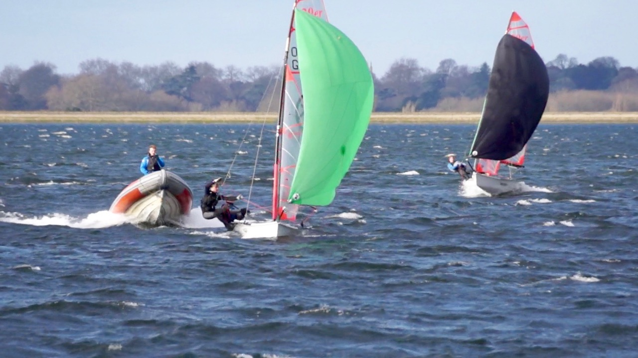 29er dinghies training with coach in RIB