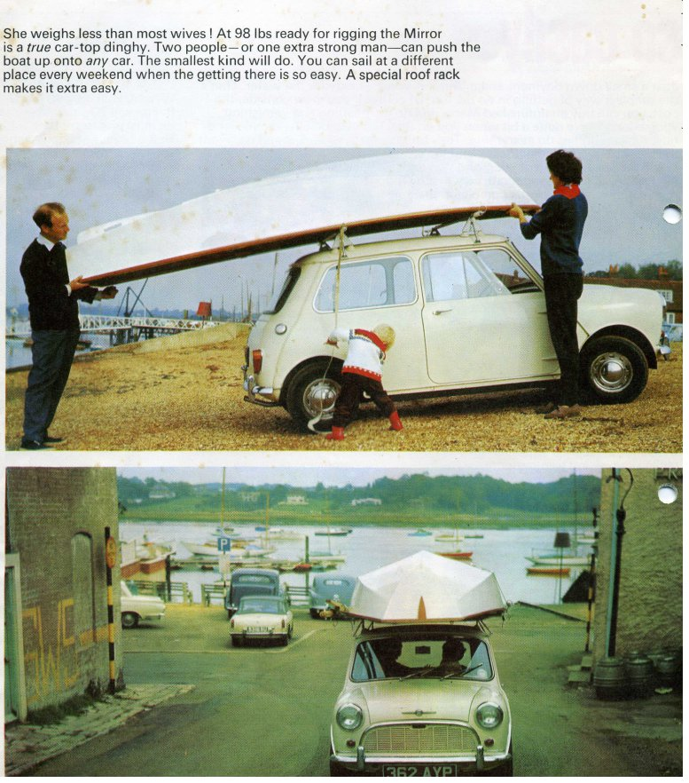 A page of a 1960s publicity brochure for the Mirror dinghy, this page features a Mirror on top of a Mini car
