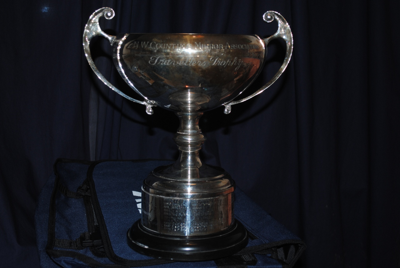 A silver cup with two handles on a black plastic base with silver ring